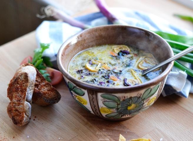 Ciorba de leurda si loboda cu melcisori din omleta
